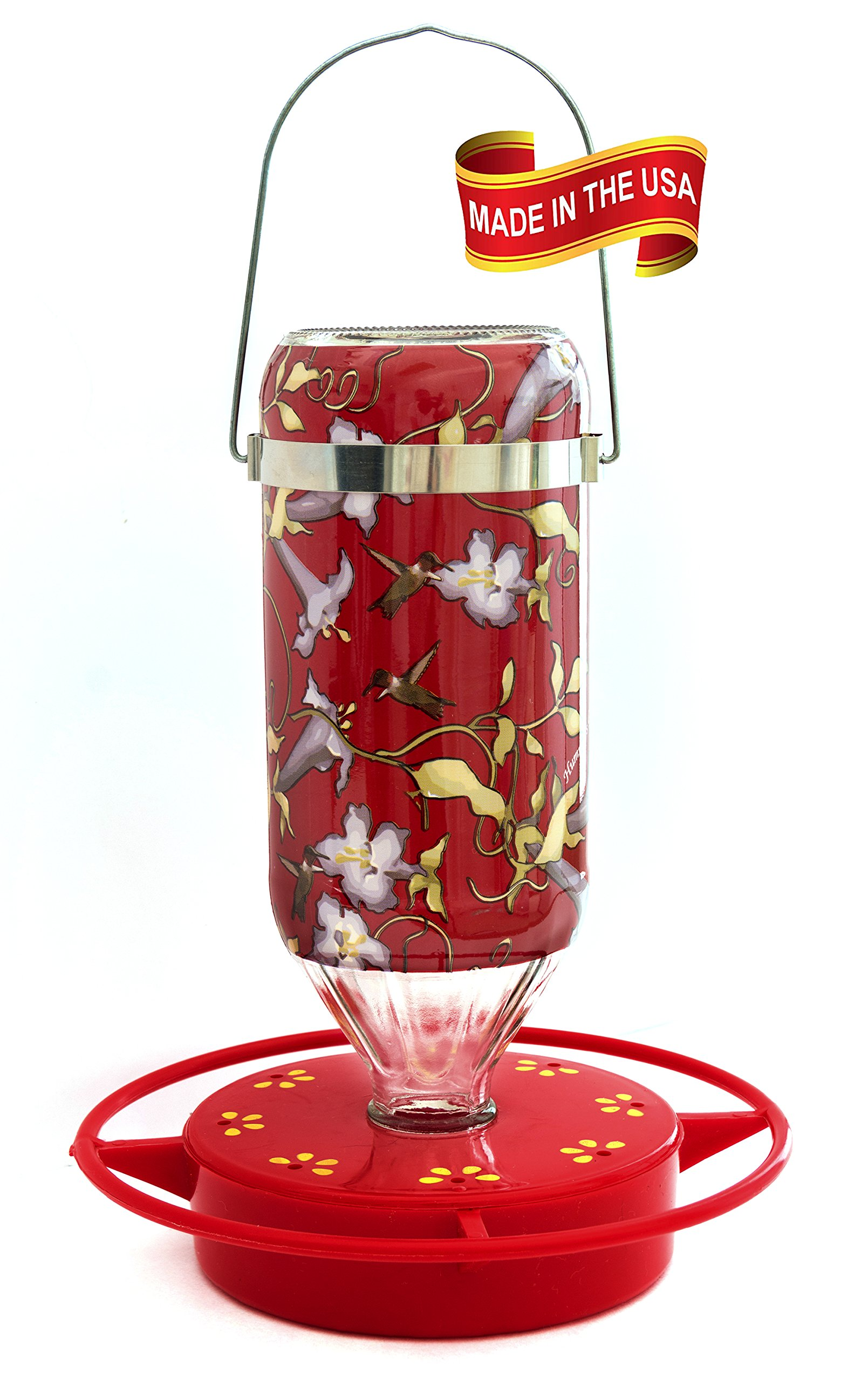Hummers Galore® Hummingbird Feeder, 16oz Hanging Vine Design Glass Feeder with Base