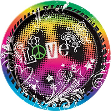 ~ Birthday Party Supplies 8 TIE-DYE Feeling Groovy EXTRA LARGE PAPER PLATES