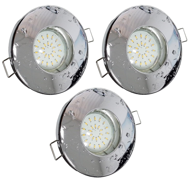 Trango®, set da 3 faretti da incasso IP44,per bagno/doccia/sauna, comprende 3x lampadine al LED GU10, da3,0Watt, 3000K bianco caldo, acciaio, Chrom Tg6729ip-038b, GU10 3.00watts 230.00volts