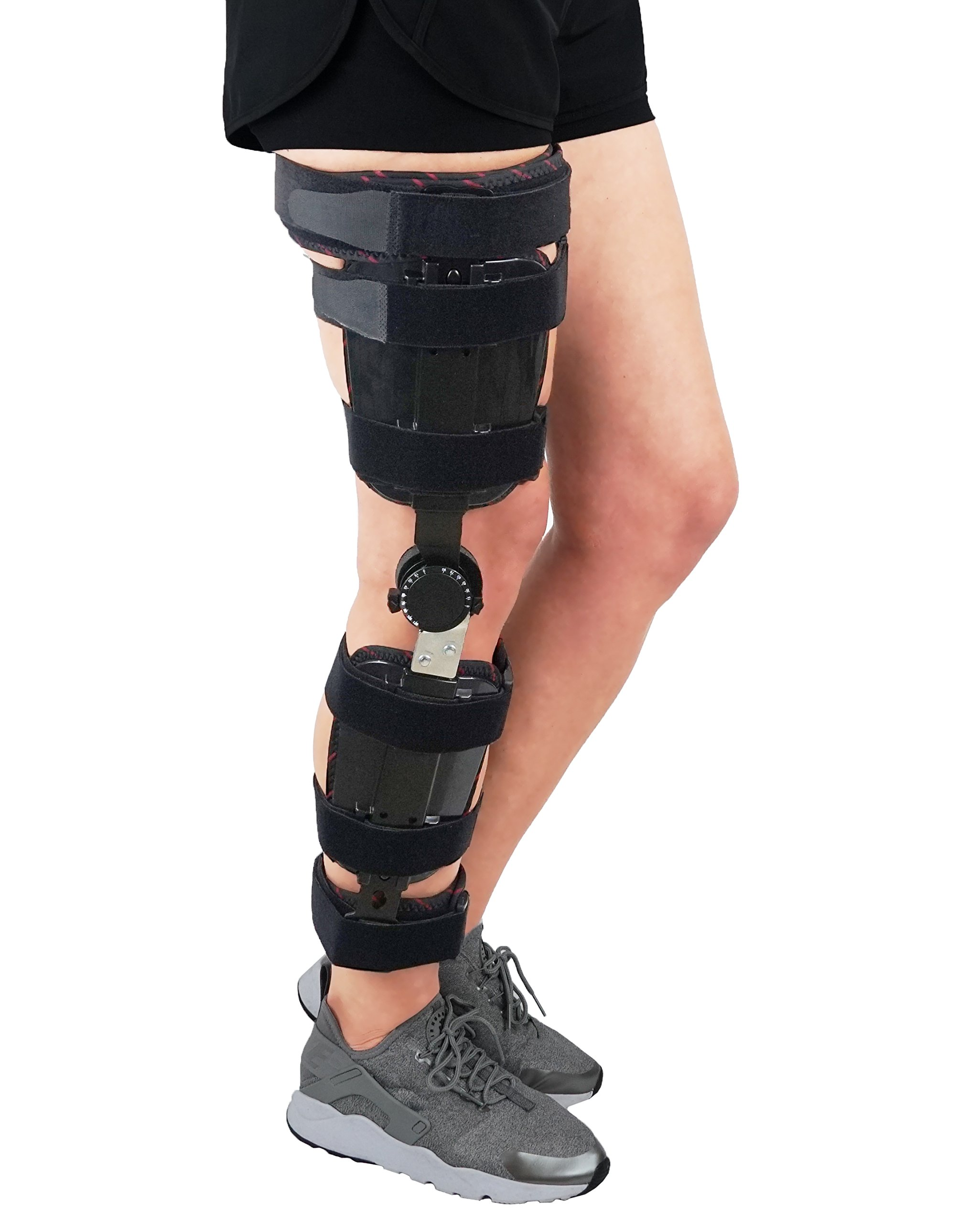 ORTONYX Hinged Adjustable Knee Brace Support Stabilizer Immobilizer - One Size Fits Most - Black