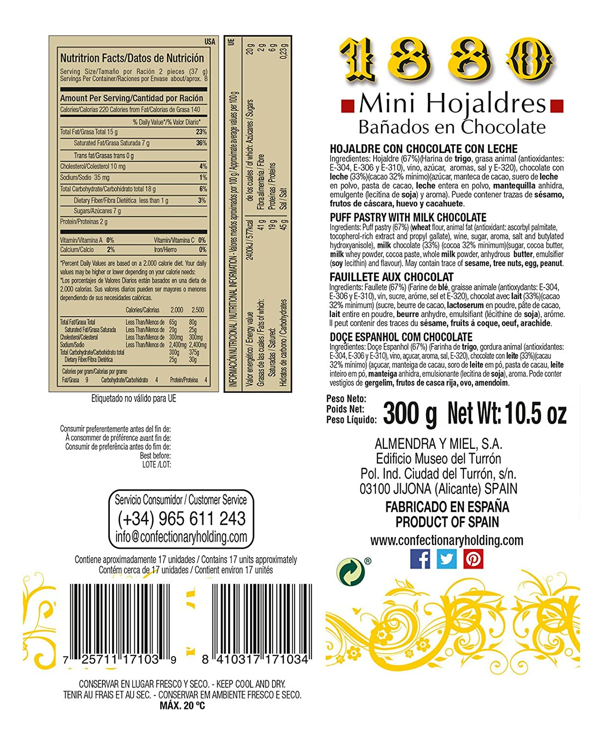 Mini chocolate hojaldres pastas de hojaldre by 1880 10,5 oz ...
