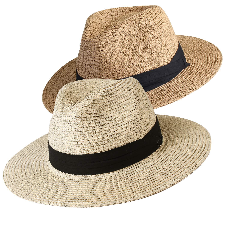 Womens Wide Brim Straw Panama Hat Fedora Summer Beach Sun Hat UPF50