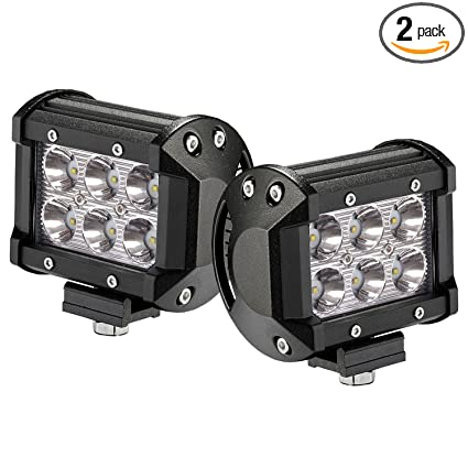 LED Light Bar 2PCS 18W 4 by Glaretek | Waterproof Square 12 Volt Led Lights Off Road Work Fog Lights Backup Lights for Trucks Golf Cart 4WD Truck SUV Jeep ...
