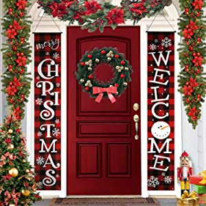 KENPMA Buffalo Plaid Christmas Outdoor Decorations Front Porch Signs - Xmas Holiday Décor Banners - Merry Christmas Welcome Sign Red Porch Sign for Indoor Front Door Living Room Kitchen Wall Party