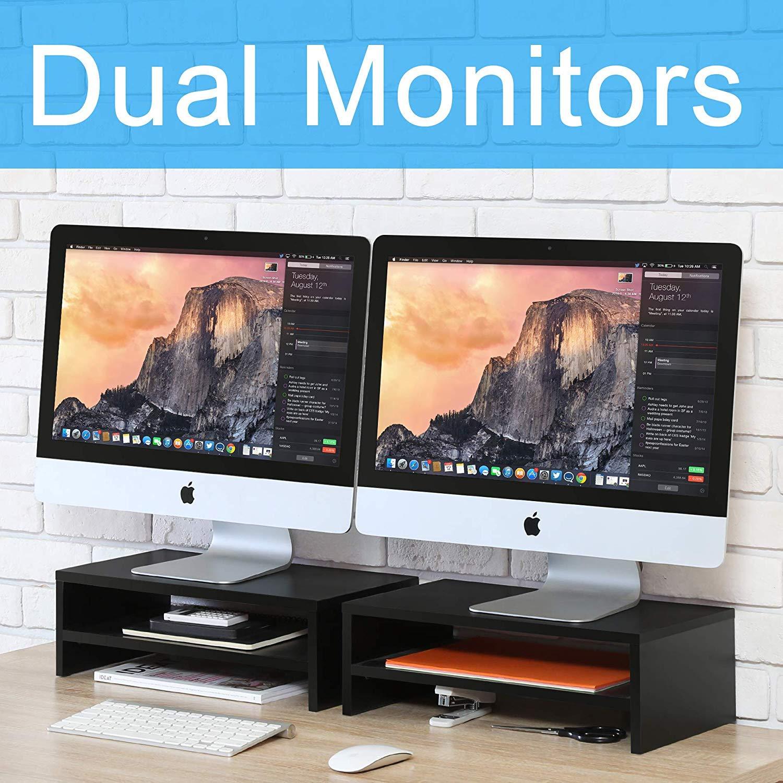FITUEYES 2 Livelli Legno Supporto per Monitor Nero DT205401WB