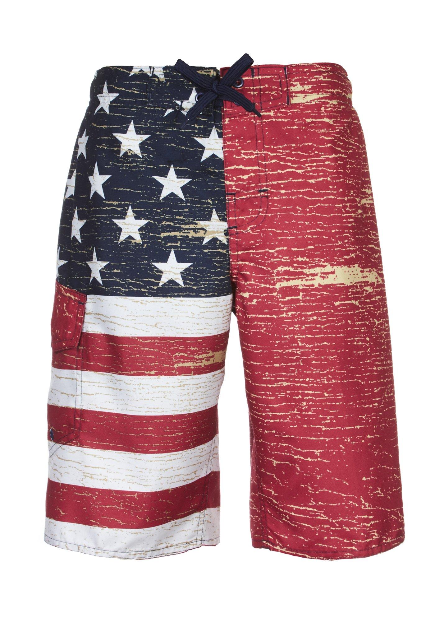 Laguna Boy's American Flag USA Board Short Swimwear Trunks Red-18/20