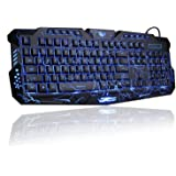 لوحة مفاتيح للالعاب باضاءة ليد خلفية بثلاثة الوان تضيئ في الفتحات، لوحة مفاتيح للكمبيوتر واللاب توب M200