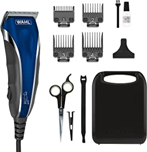 Wahl Pro-Grip Pet Grooming Clipper Kit - Low Noise Clipper for Small to Large Dogs – Electic Dog Shaver for Eyes, Ears, & Paws - Model 9164,Blue/Silver