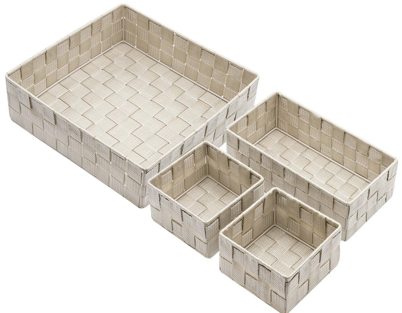 WEV4-GRYPATA Woven Basket Set - 4 Piece, Gray Pattern Sorbus Storage Box Woven Basket Bin Container Tote Cube Organizer Set Stackable Storage Basket Woven Strap Shelf Organizer