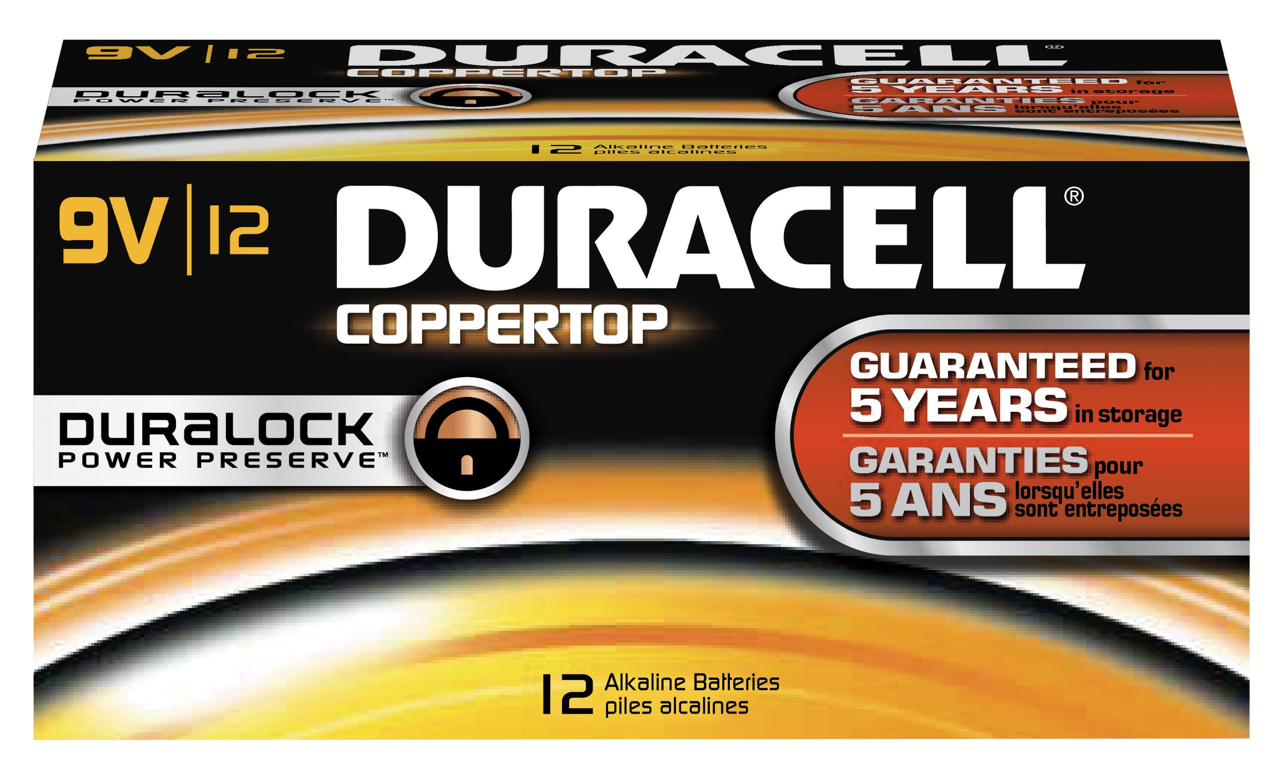 Duracell MN1604BKD Coppertop Alkaline-Manganese Dioxide Battery, 9V (Case of 72) by Duracell