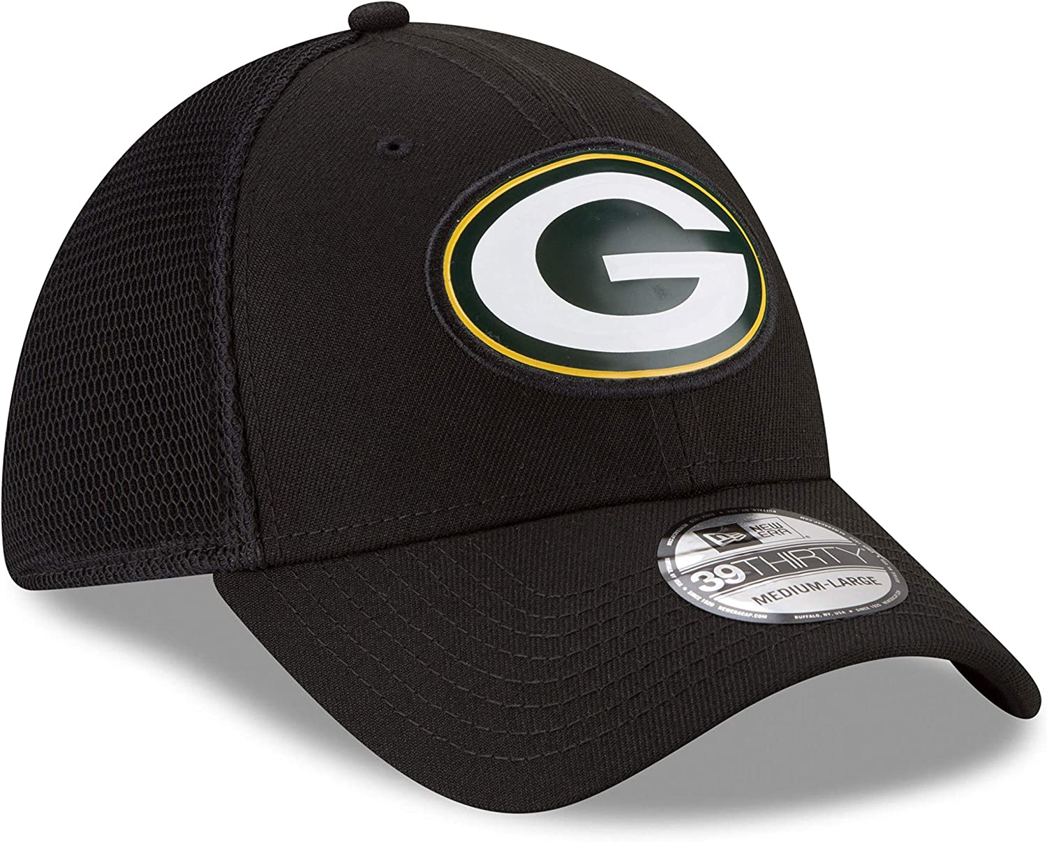 Green Bay Packers Fan Mesh 39THIRTY Stretch Fit Hat Black ...