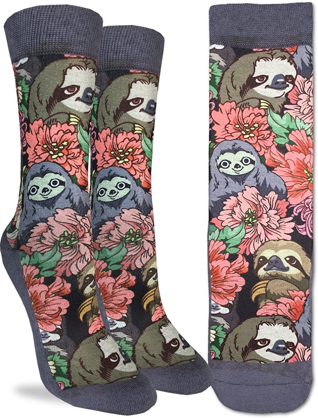 Good Luck Sock Womens Floral Sloths Crew Socks - Grey, Adult Shoe Size 5-9