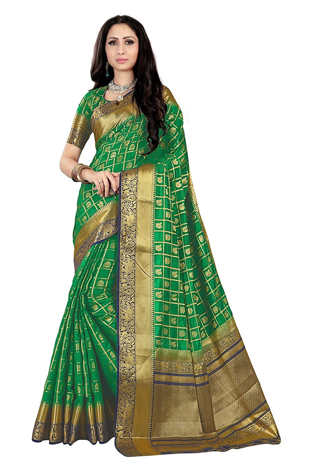 e97c580049 IndoPrimo Women's Silk Wedding Wear Saree with Blouse Piece (Free Size,  Multi Colour): Amazon.in: Clothing & Accessories