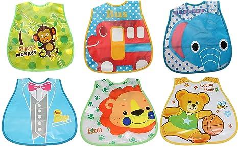 Babero de plástico impermeable para bebés y niñas, fácil de limpiar, 3 unidades 6 bibs bundle