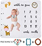 Baby Monthly Milestone Blanket - Photography Photo Props with Travel Diaper Bag for Boy Girl Shower Gift Elephant Newborn Infant Baby Swaddling Month Stickers