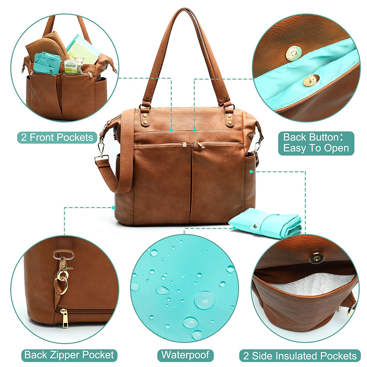 Changing Pad Shoulder Straps Diaper Bag Tote Mominside Leather Diaper Bag Backpack for Mom and Dad Large Travel Diaper Tote Baby Bag for Boys and Girls with Insulated Pocket Brown