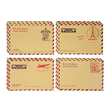 Honbay 40PCS 11x16.2cm/4.33x6.38inch AirMail Vintage Kraft Paper Envelopes for Postcards, Letters, Notes, Weddings, Parties, Holiday, Banquets, ...