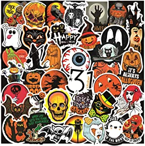 50 Pcs Halloween Theme Stickers, Halloween Pumpkin Ghost Black Cat Monster and Bat Waterproof Vinyl Stickers for Water Bottles Laptop Luggage Cup Mobile Phone Skateboard Decals
