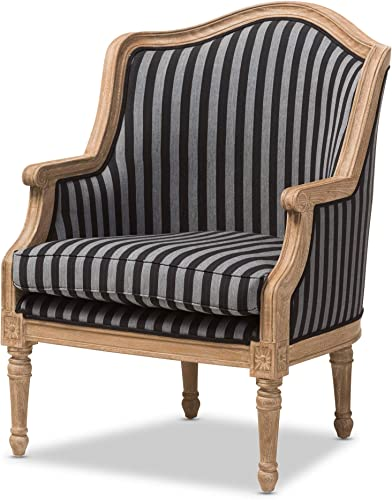 Baxton Studio Charlemagne Traditional French Black and Grey Striped Accent Chair - a good cheap living room chair