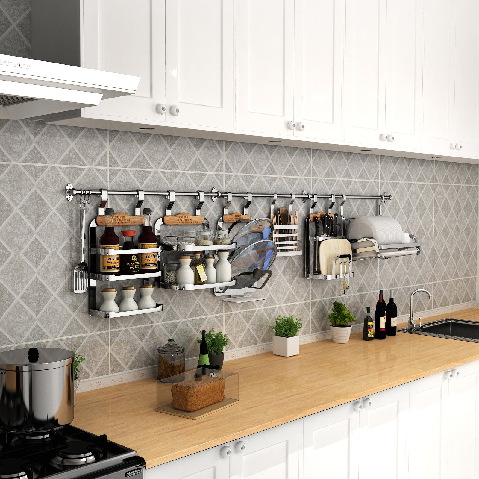 esylife wall mount kitchen rail with 8 sliding hooks stainless
