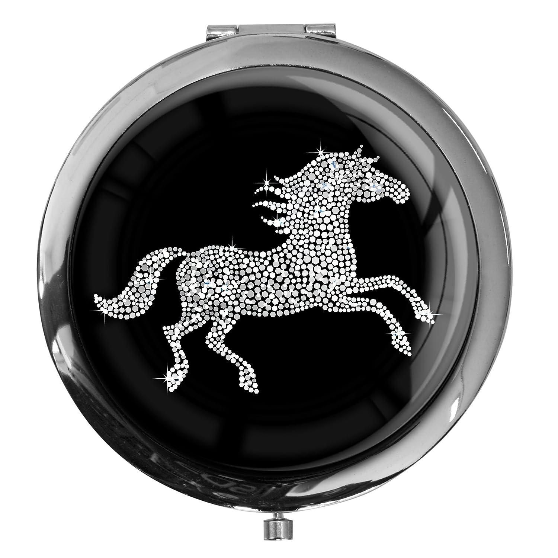 Premium - miroir de poche sous forme ronde Cheval dans l'argent metALUm