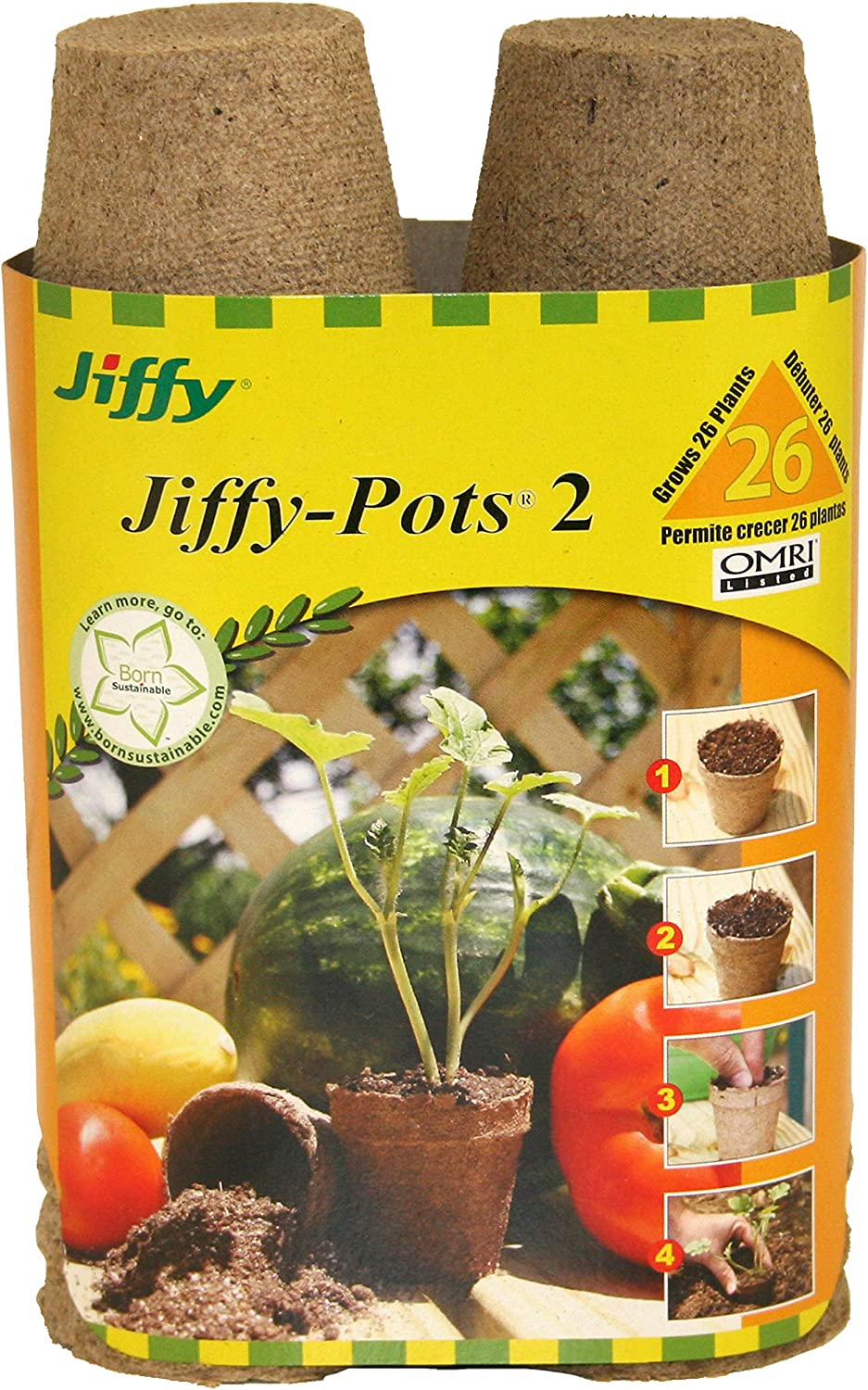 Jiffy 100055665 033349412142 Ferry Morse 5214 26-Count 2-1 4-Inch Pots