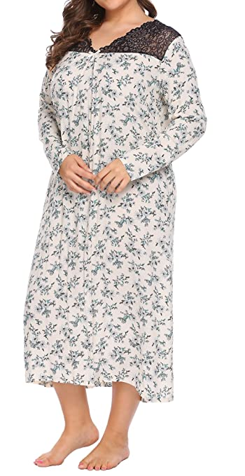 Involand Women' Plus Size Floral Print Lace V-Neck Long Sleeve Sleepshirt Loose Fit Maxi Nightgown