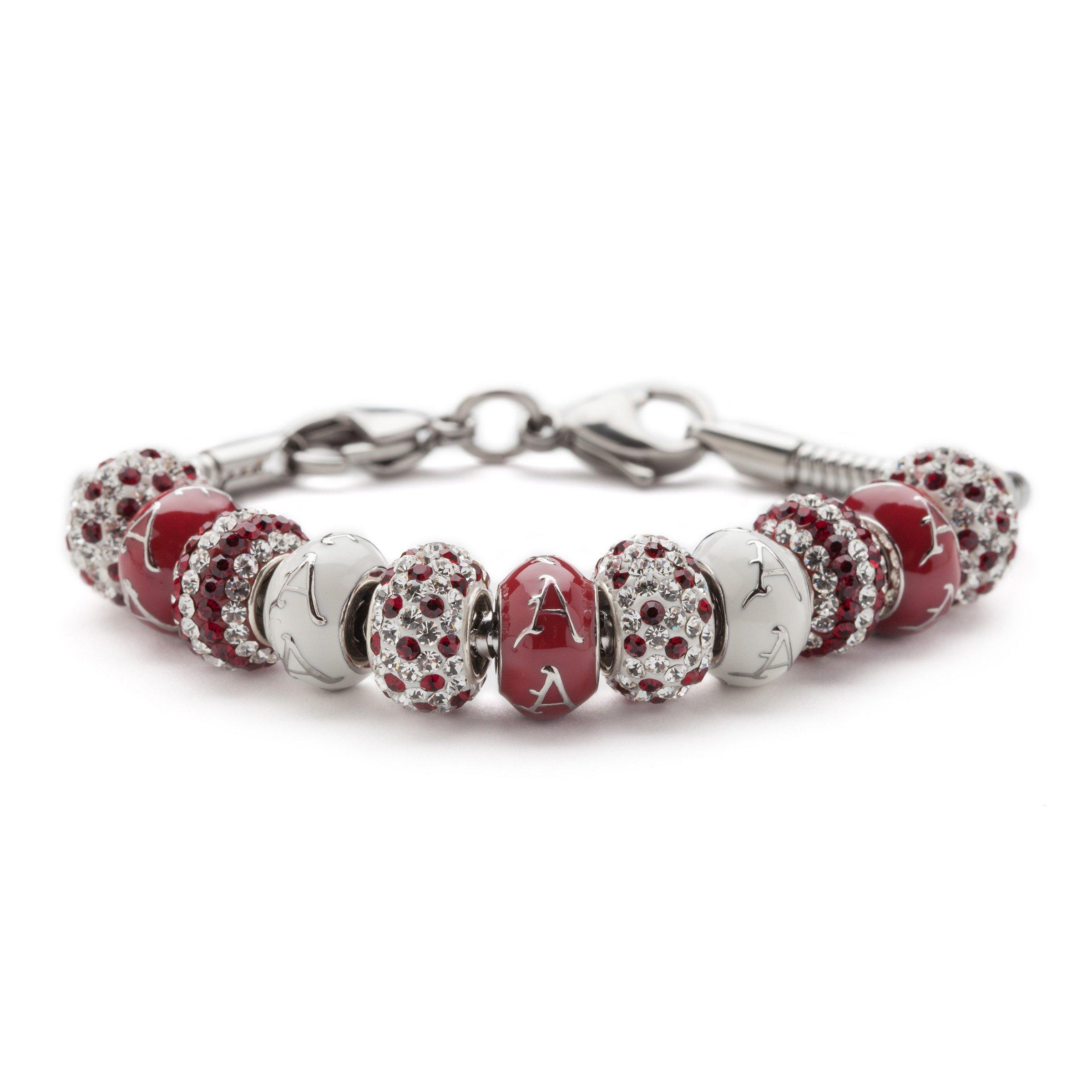 University of Arkansas Bracelet | UA Razorbacks - Bracelet with 5 UA Beads and 6 Crystal Charms | Officially Licensed University of Arkansas Jewelry | UA Gifts | UARK Logo | Stainless Steel