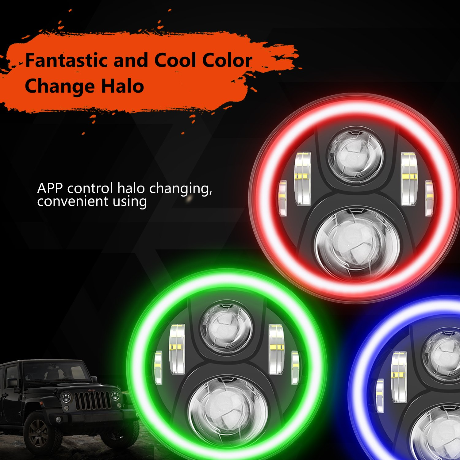 Rgb Halo Led Headlight For Jeep Wrangler Cj Tj Jk Jku 2004 Front Suspension Diagram Auto Parts Diagrams Rubision Unlimited 7inch Headlamp Assembly With Angel Eye