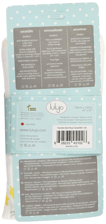 Amazon.com: Lulujo Baby Bamboo Muslin Swaddling Blanket, Twinkle, 47 ...
