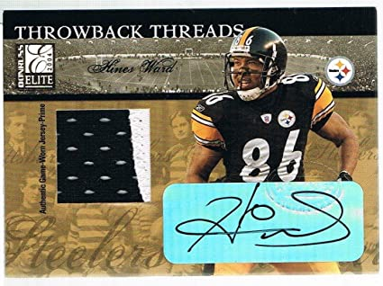 045747552 Image Unavailable. Image not available for. Color: 2004 Donruss HINES WARD Elite  Throwback Threads Prime Autograph ...