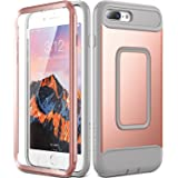 iPhone 8 Plus Case, iPhone 7 Plus Case, YOUMAKER Full Body Heavy Duty Protection Shockproof Case With Built-in Screen Protector for Apple iPhone 8 Plus 2017/iPhone 7 Plus 2016 5.5 inch -Rose Gold/Gray