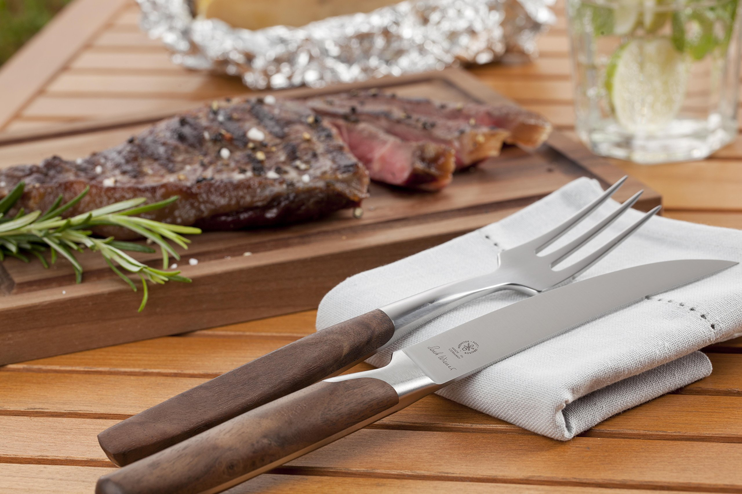 Mono Pott By Sarah Weiner Steak Cutlery Set, Fork + Knife W Micro Serration, Plum Wood