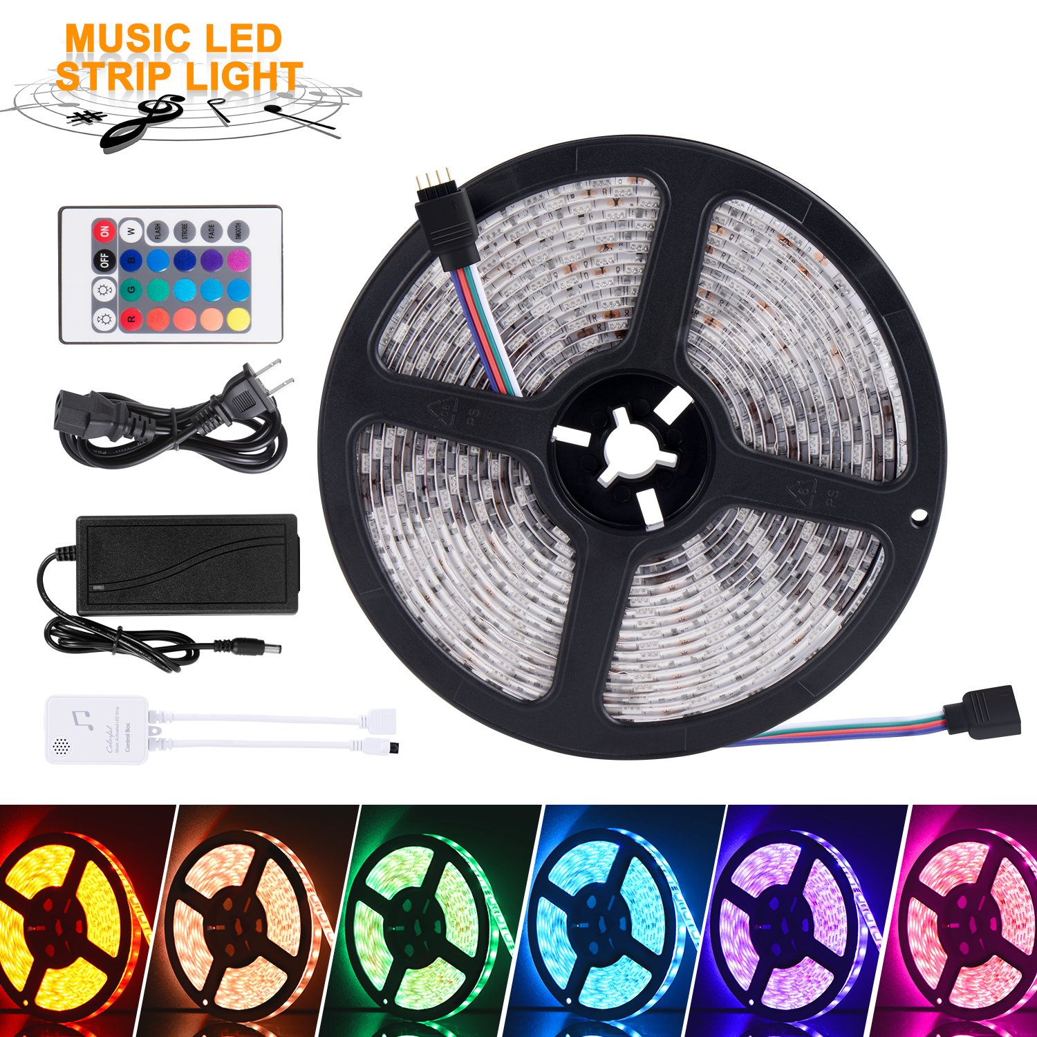 SUNNEST Music Activated LED Strip Light Kit, Waterproof 16.4ft 300 LEDs RGB SMD 5050 LED Tape with Remote Controller, IR Receiver, Power Supply, Sync with Music by SUNNEST (Image #1)