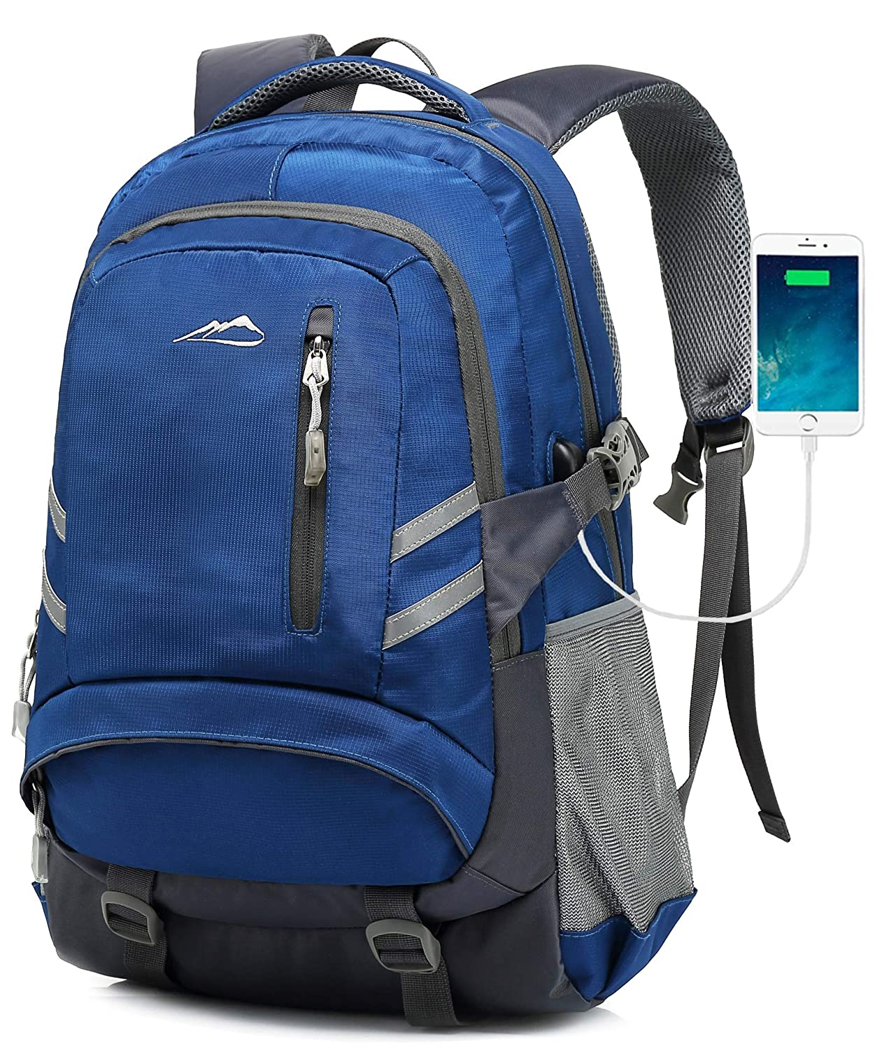 MOGGEI Backpack for School Bookbag College Student Business Travel with USB Charging Port Fit Laptop Up to 15.6 Inch Anti Theft Luggage Straps Blue