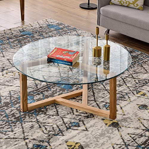 P PURLOVE Coffee Table 35.43″ Round Glass Coffee Table Modern Cocktail Table Easy Assembly End Table