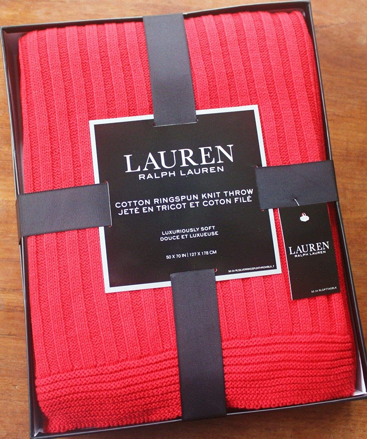 Lauren by Ralph Lauren Red Cotton Ringspun Sweater Knit Throw Blanket with Gift Box