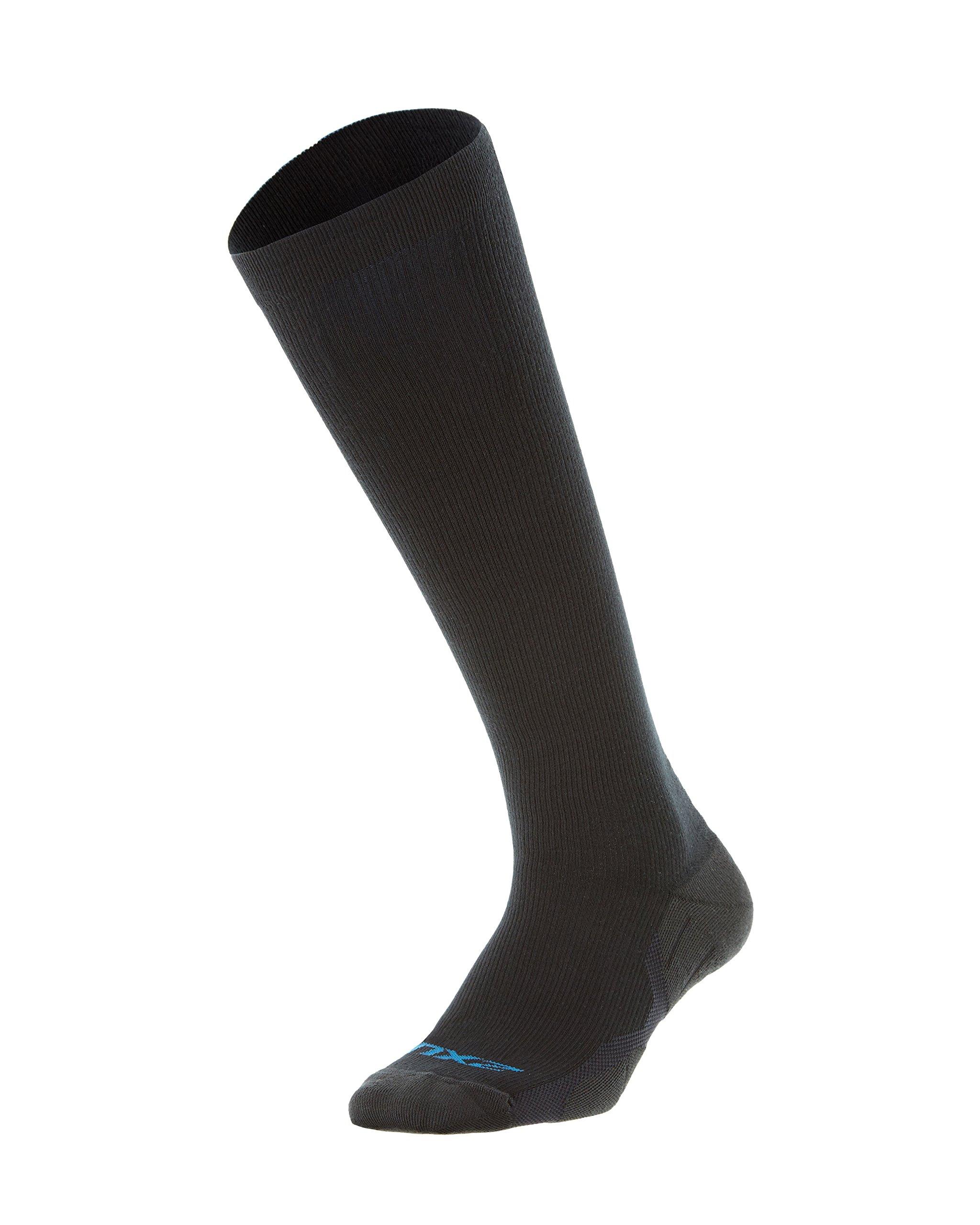2XU Men's 24/7 Graduated Compression Socks, Black/Black, Medium