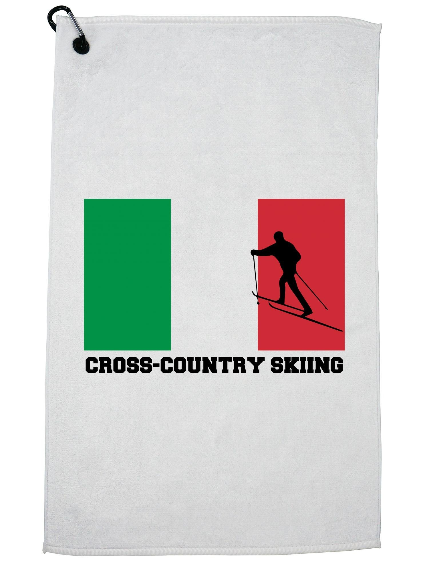 Hollywood Thread Italy Olympic - Cross-Country Skiing - Flag - Silhouette Golf Towel with Carabiner Clip