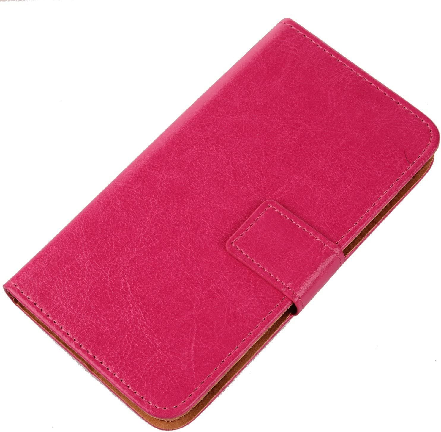 Gukas Color Design PU Flip Leather Wallet with Card Slots Cover Skin Protection Case Shell For BLU Dash Jr D141W (Rose)