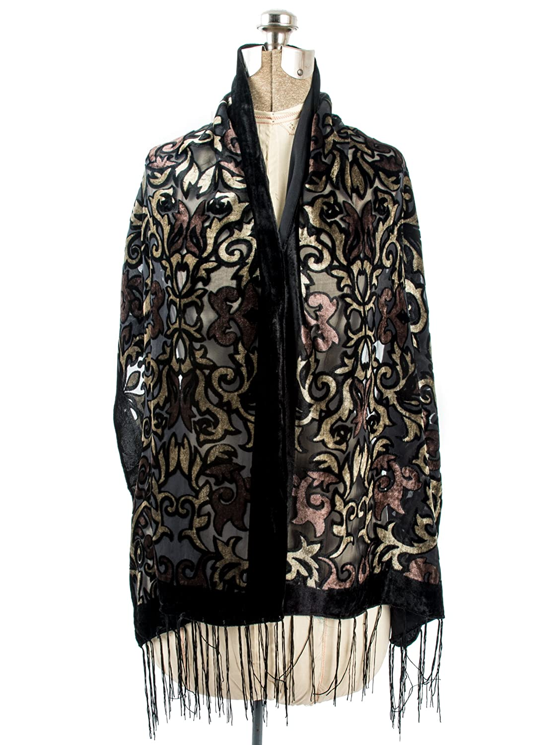 1920s Style Wraps Bohomonde Gia Scarf - Silk Brocade Print Velvet Burnout Scarf with Fringe Ends $17.95 AT vintagedancer.com