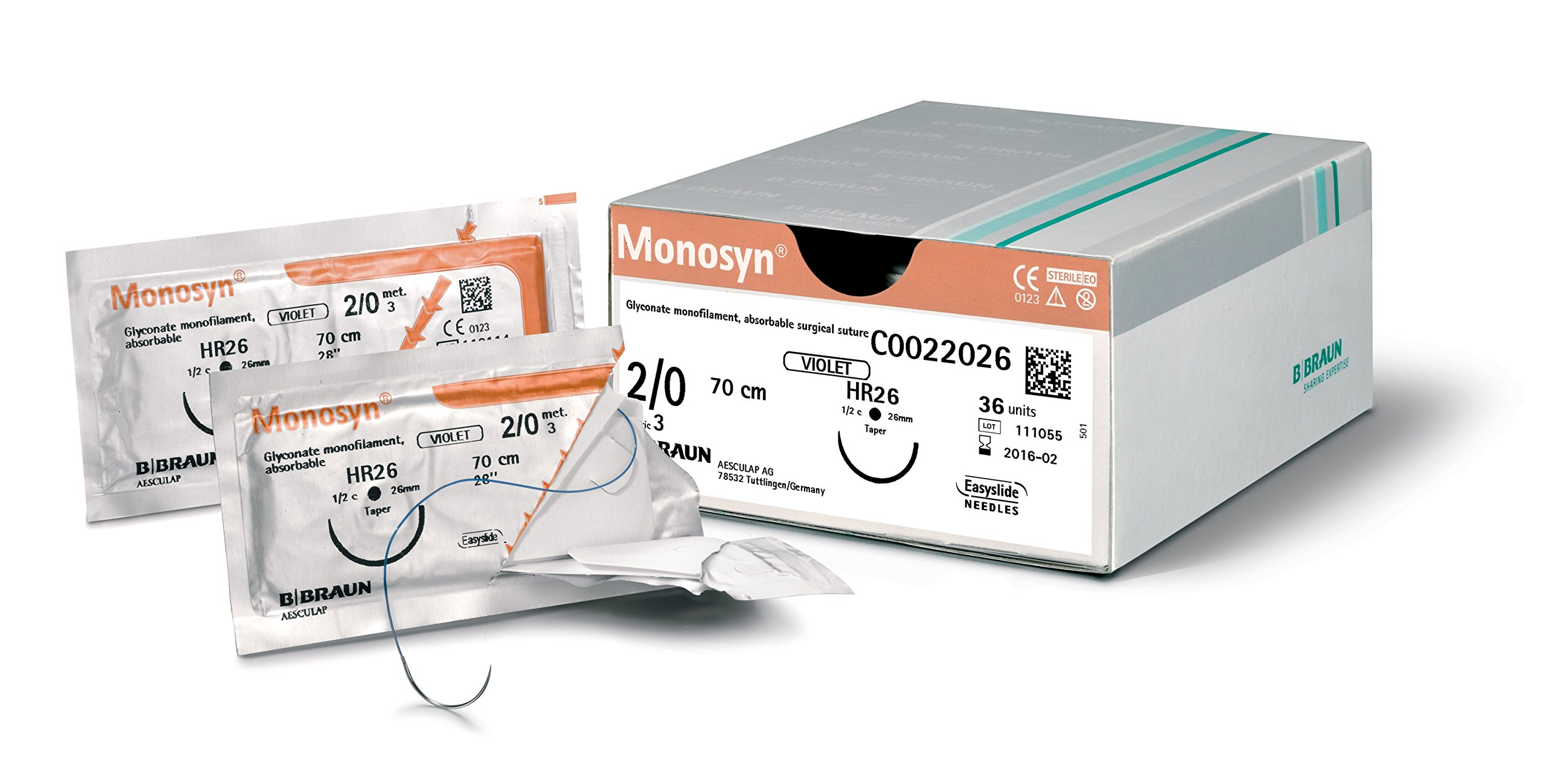MONOSYN G0023603 Aesculap UNDYED 5/0 18'' (45 cm) DSMP13 DDP Suture (Pack of 12)