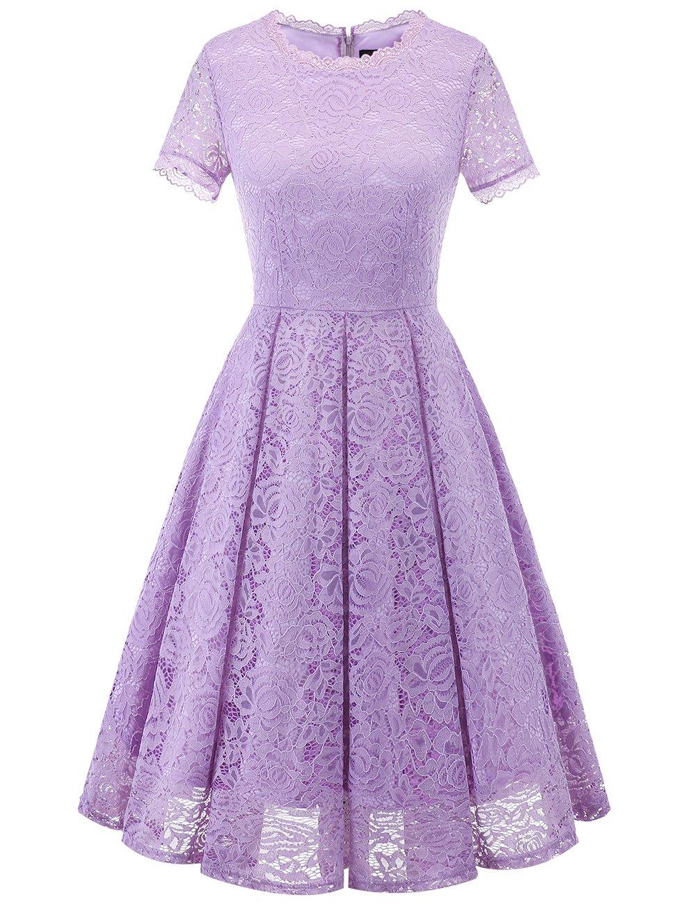 DRESSTELLS Women's Bridesmaid Vintage Tea Dress Floral Lace Cocktail Formal Swing Dress Lavender XL