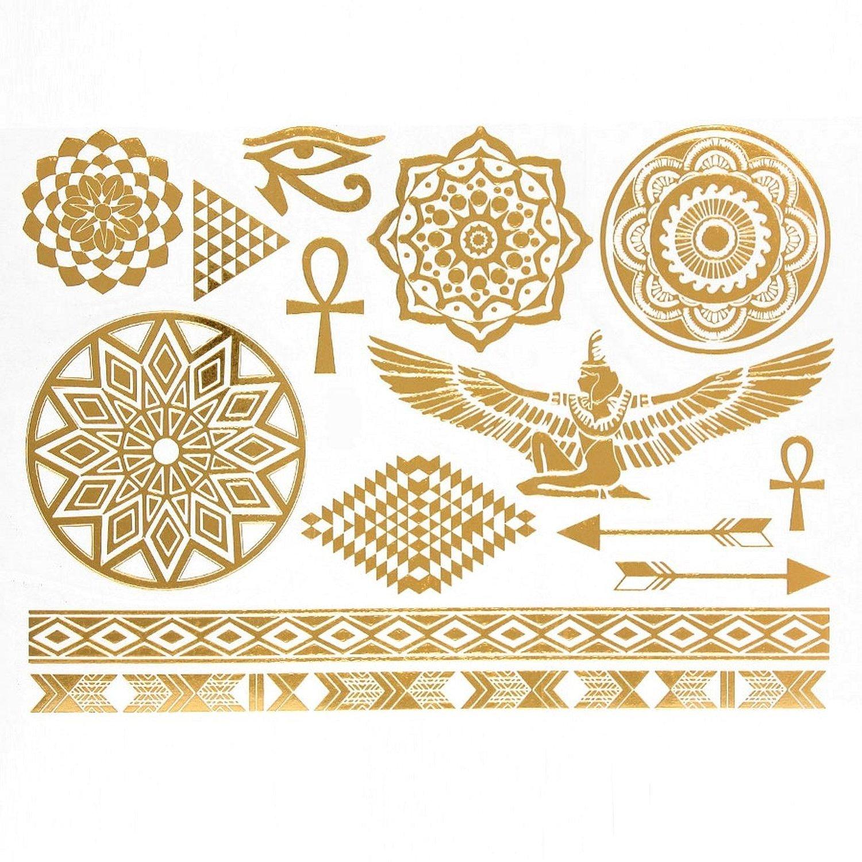 Tatuajes brillantes y lentejuelas-provisionales de metal ...