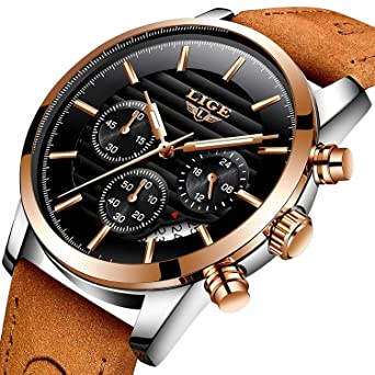 a4bd8c0d47c LIGE Mens Watches Fashion Casual Full Leather Sport Quartz Watch Men Luxury  Brand Waterproof Business Gift