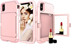 iPhone Xr Case, Solomo Wallet Case Design with Hidden Back Mirror and Card Holder Heavy Duty Protection Shockproof Armor Protective Phone Cases Cover for Apple iPhone Xr 6.1 inch (Rose Gold)