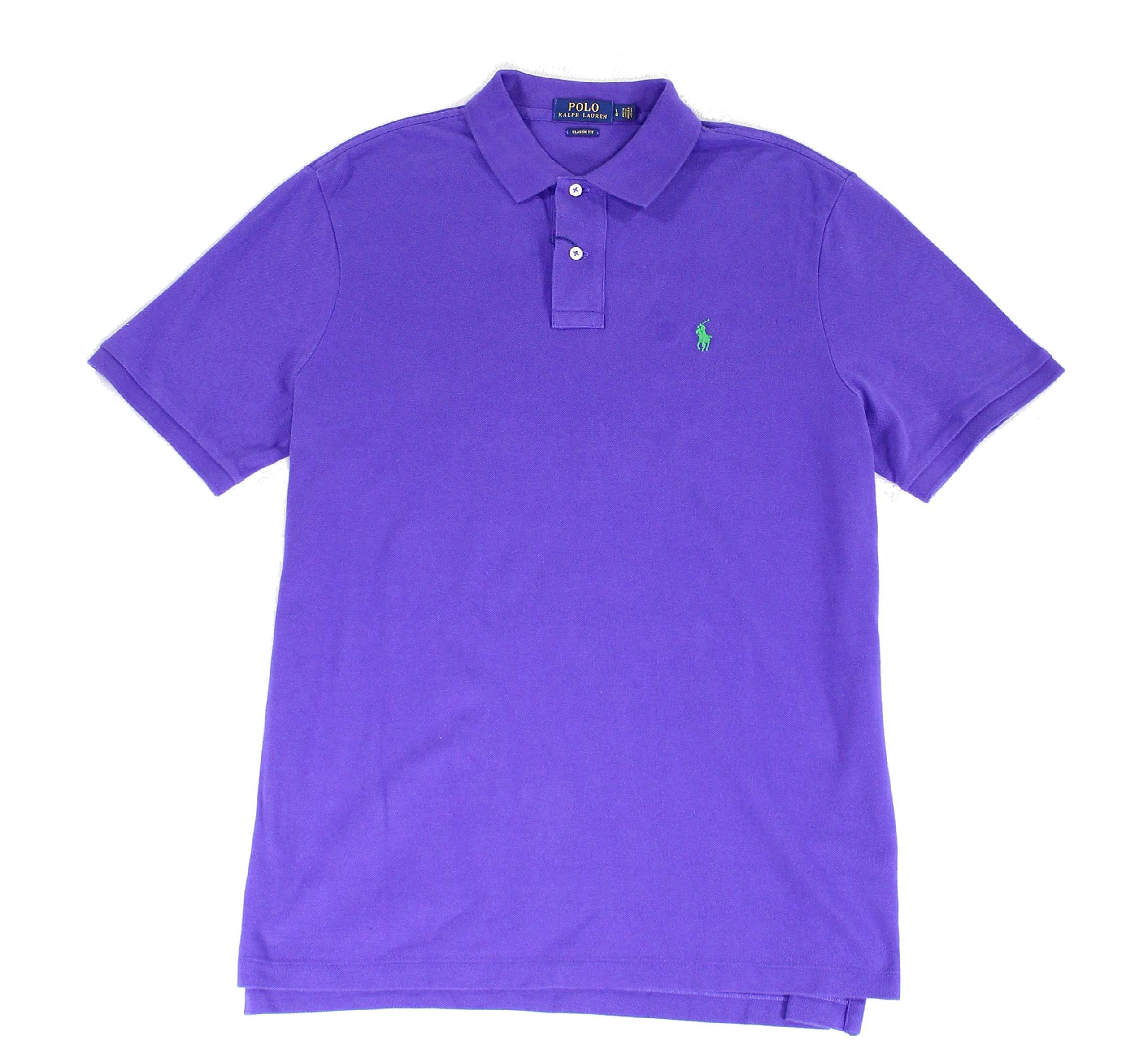 Polo Ralph Lauren Mens Classic Mesh Polo Shirt (S, Dark Purple)