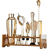 Jillmo Pro Martini Bartender Kit Champagne Light Gold Stainless Steel Bar Set with Bamboo Stand - 19 oz Parisian Cocktail Shaker with Bar Accessories