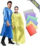 Rain Poncho for Adults (6 Pack), Ponchos Thicker Material Emergency Disposable, Waterproof Rain Coat, Family Pack for Men, Women, Teens, Kids - Drawstring Hood, Elastic Sleeve, Commuter Friendly