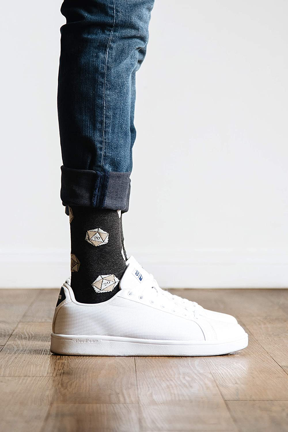 Novelty Crew Dress Socks Mens Hipster Charcoal Gray D20 Polyhedral Dice Dungeons /& Dragons D/&D DnD